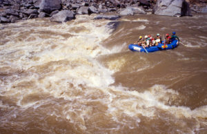 A raft enters Horrible Horrace rapid at high water.